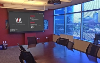 Conference Room With Projector and Motorized Screen and VIA Campus Wireless Collaboration Device